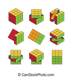 Rubiks cube isometric set. Color puzzle for development logic entertainment cubic face blocks different stages solving problem complex puzzle with multicolor design intelligent game. Vector element.