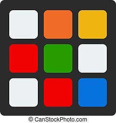 Rubik's cube of black color vector flat isolated