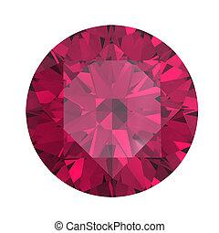 rubin, okrągły, odizolowany