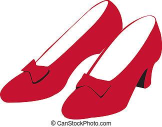 rubin, skor, röd