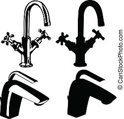 rubinetti, moderno, vecchio