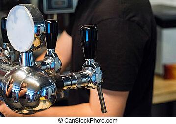 rubinetti, sbarra, cromo, moderno, birra, chiudere
