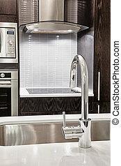 rubinetto, e, lavandino, in, moderno, cucina