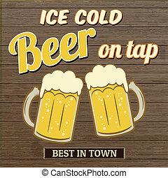 rubinetto, manifesto, ghiaccio, birra, disegno, freddo