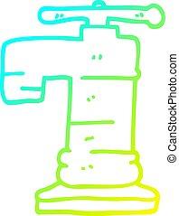 rubinetto, oro, pendenza, linea, placcato, disegno, freddo, cartone animato