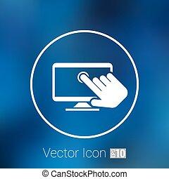 rubinetto, schermo, vettore, dito, tocco, mostra, icona