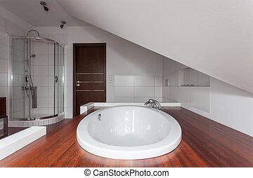 rubinvörös, épület, -, csepp, alatt, fürdőkád