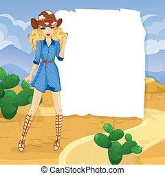 rubio, desierto, niña, vaquero