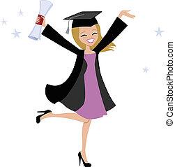 rubio, graduado, mujer, ilustración