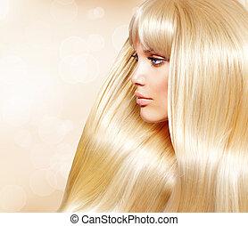 rubio, hair., moda, niña, con, sano, largo, liso, pelo