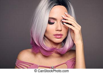 rubio, hair., mujer, belleza, moderno, nails., brillante, makeup., haircut., ombre, aislado, fondo., manicured, mover, hairstyle., hermoso, puprle, retrato, colorido, cortocircuito, gris, cortes de pelo, modelo
