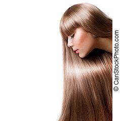rubio, hair., mujer hermosa, con, derecho, pelo largo