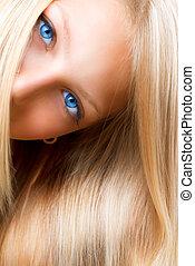 rubio, hair., rubio, niña, con, ojos azules
