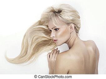 rubio, haired, mujer