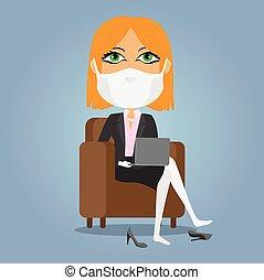 rubio, máscara, trabajando, guantes, mujer de negocios, ...
