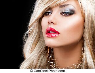 rubio, moda, mujer, portrait., pelo rubio