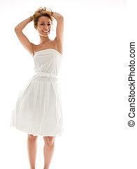 rubio, mujer, en, blanco, ropa