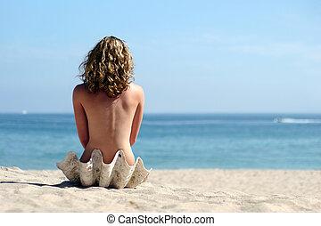 rubio, niña, en, playa