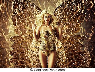 rubio, tentador, mujer, con, el, dorado, alas