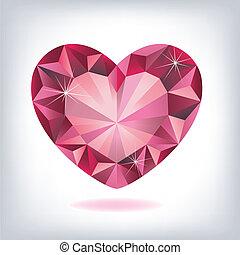 rubis, forme coeur