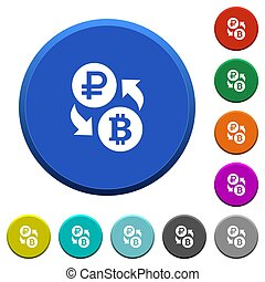 Ruble Bitcoin money exchange beveled buttons