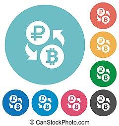 Ruble Bitcoin money exchange flat round icons