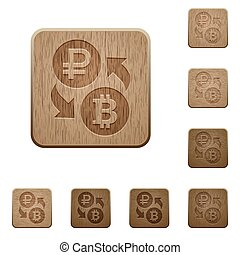 Ruble Bitcoin money exchange wooden buttons