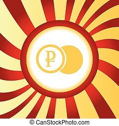 Ruble coin abstract icon