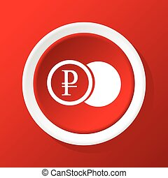 Ruble coin icon on red