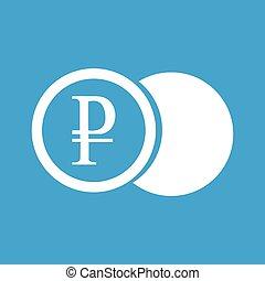 Ruble coin white icon