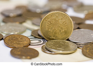 Ruble coins close up