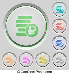 Ruble coins push buttons