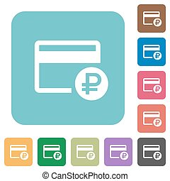 Ruble credit card rounded square flat icons