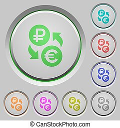 Ruble Euro money exchange push buttons