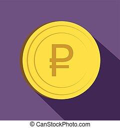 Ruble icon, flat style