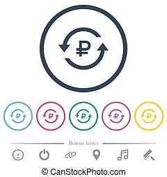 Ruble pay back flat color icons in round outlines. 6 bonus...