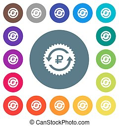 Ruble pay back guarantee sticker flat white icons on round...