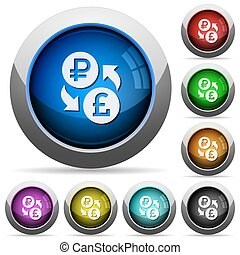 Ruble Pound money exchange round glossy buttons