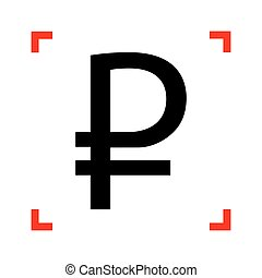 Ruble sign. Black icon in focus corners on white background. Iso