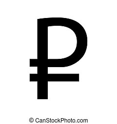 Ruble sign. Flat style black icon on white.