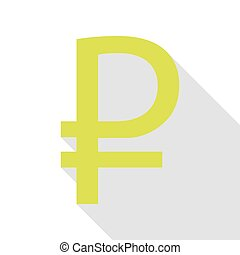 Ruble sign. Pear icon with flat style shadow path.