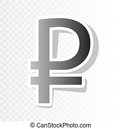 Ruble sign. Vector. New year blackish icon on transparent background with transition.