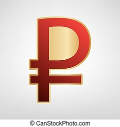 Ruble sign. Vector. Red icon on gold sticker at light gray background.