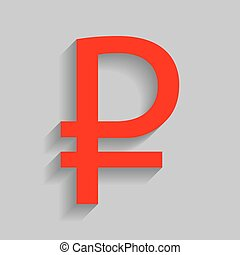 Ruble sign. Vector. Red icon with soft shadow on gray background.