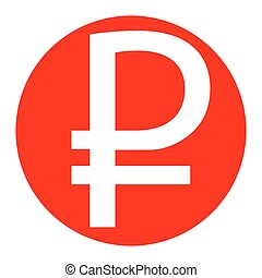 Ruble sign. Vector. White icon in red circle on white background. Isolated.