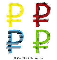 Ruble sign. Vector. Yellow, red, blue, green icons with their bl