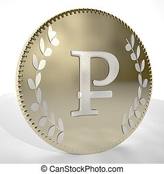 Ruble symbol over golden coin, 3d render, square image
