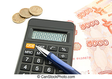 rubles banknotes, calculator and blue pen