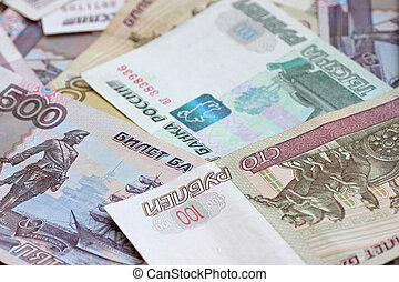 rubles - close up of heap of Russian Federation banknotes