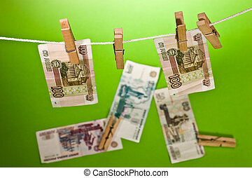 rubles fall, financial problem - Russian bank note wear out...